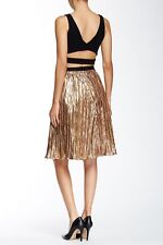 ASTR Metallic Crinkle Midi Skirt Gold XS
