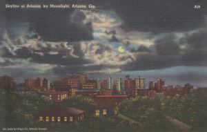 ATLANTA GA Vintage Full Moon Skyline