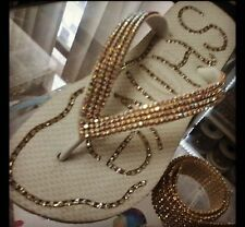 Ruban doré métal & strass cristal  40 cm x1cm thermocolant ou à coudre custom