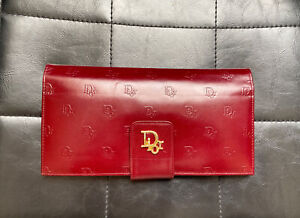 Vintage Dior Logo Trotter Oblique Monogram Leather Red Gold Purse Wallet Clutch