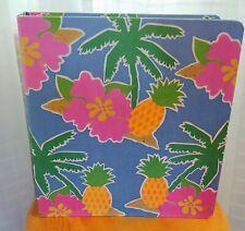 Mead 3 Ring Canvas School Binder tropical pineapple beach palm trees 1987 EUC