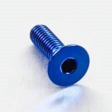 Vite Metrica M3x10mm Testa Svasata in Lega di Alluminio in ERGAL BLU (5pz.)