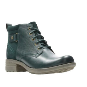 CLARKS ODINKA ROSE LADIES GREEN LEATHER ANKLE BOOT UK 3 D EU 35.5