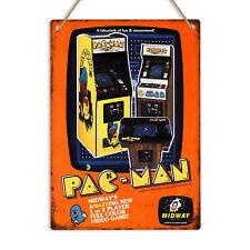 PAC-MAN ARCADE MACHINE Retro Vintage Gaming Metal Wall Sign Plaque Pac Man Cave