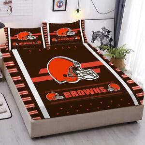 Cleveland Browns Deep Pocket Fitted Sheet Pillowcases Ultra Soft Bedding 3PCS