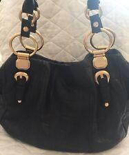 B. Makowsky Black Leather Large Satchel Handbag Gold trim
