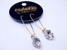 Rings`Ears Sleeper Golden Long CZ Round Bright Class End Marriage EE9