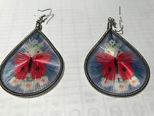 HANDCRAFTED THREAD EARRINGS  DROP BUTTERFLY RED/BLACK 4CM