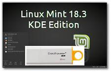 Linux Mint 18.3 Sylvia LTS KDE on 8Gb USB Stick 64bit Alternative to Windows