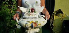 Stunning Huge Hand painted Bassano Tureen Terrine-floral décor 2 pigeons doves