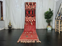 "Moroccan Handmade Boujaad Runner Rug 2'5""x11' Abstract Red Black Wool Berber Rug"