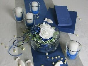 Set Tischdeko blau - grau I Kommunion Konfirmation Taufe Komplettset 20 Personen