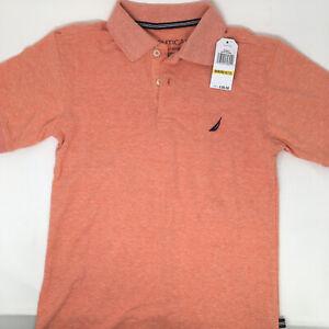 Nautica Boys' Short Sleeve Heathered Polo, Coral, Medium (10/12)