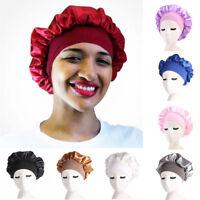 Long Hair Care Women Satin Bonnet Cap Night Sleep Hat Silk Cap Head Wrap