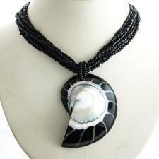 "2 1/4"" BLACK NAUTILUS SHELL PENDANT BLACK BEADS necklace"