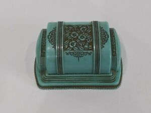 Vintage Celluloid Art Deco ~ Ring Jewelry Box ~ Green ~ 1949 or Earlier