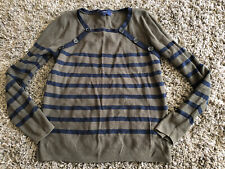 Next Khaki & Blue Stripe Jumper Size 12