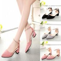 Women Low Wedge Chunky Heels Shoes Ladies Summer Platform Ankle Strap Sandals