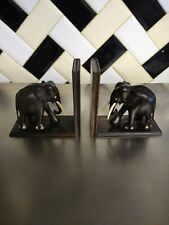 Pair of African carved elephant wooden book ends Vintage Antique