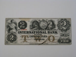 1858 $2 International Bank of Canada Brown Protector 380 - 10 -08 -12 Rare