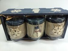 """NEW 3 Pillar Candles 3"""" X 3.5"""" Blue Snowman In Wood Crate Holiday Decor"""