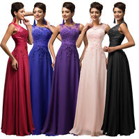 LACE Long Cocktail Evening Party Prom Bridesmaid Dresses Formal STOCK Size 6-18+