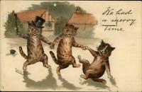 Louis Wain Cat Fantasy Drunk on the Town TUCK c1910 Postcard G19