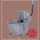 Janitorial 35 Qt. Gray Mop Bucket and Side Press Wringer Combo