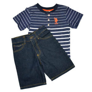 EX. US POLO ASSN 2 PIECE SET T-SHIRT AND DENIM SHORTS from 2 - 6 years