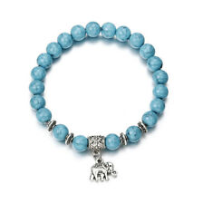 Women's Natural Blue Turquoise Stone Silver Elephant Beaded Charm Bracelet