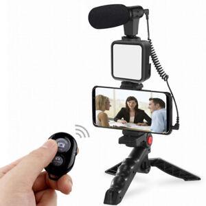 Smartphone Vlog Video Kit With Tripod Microphone LED Light Phone Holder Remote