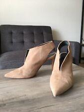 CELINE Women's Heels Pump Slingback Shoes Suede Beige Size 35 1/2 US 5 1/2