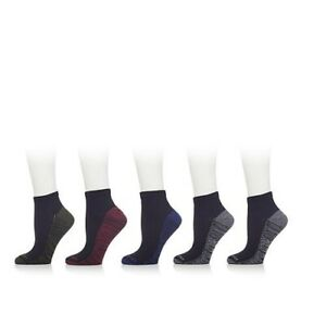 Copper Fit 5 Pack Men's Cooling Quarter Socks Black, size M (6-12)