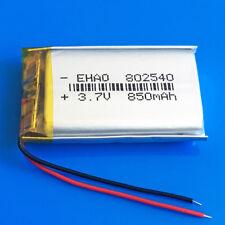 3.7V 850mAh Li po Rechargeable Battery for MP3 MP4 Speaker GPS Recorder 802540