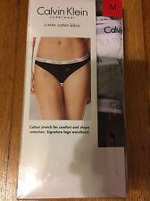 New Calvin Klein Women's Underwear Panties 3-Pack Size M 1 Grey 1 Black 1 White