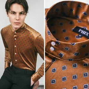 Mens Velvet Retro Ainsford Mod Kaftan Shirt by Phix XS S M L XL XXL