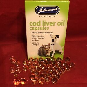 Cat Cod Liver Oil Capsules 20 Natural Supplement Healthy Skin Bone Coat Omega 3
