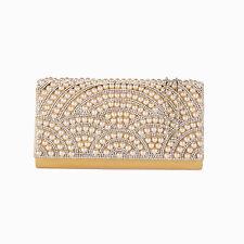 Pearl Crystal Diamante Beaded Clutch Bag Wedding Prom  Evening Handbag Purse
