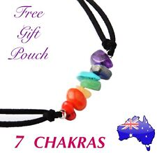 7 Chakra Genuine Natural Stone Rainbow Choker Necklace Boho Hippie Yoga Healing
