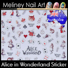 Alice in Wonderland Nail Art Stickers red queen cards white rabbit decoration
