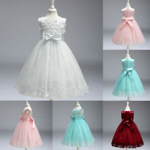 Flower Girl Bow Princess Dress Lace Gown for Kids Party Wedding Tulle Tutu Skirt