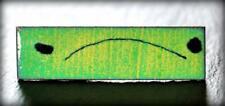 "Vintage 1.7"" MCM Enamel Copper Abstract Green Yellow Tie Bar Clip Mid Century"
