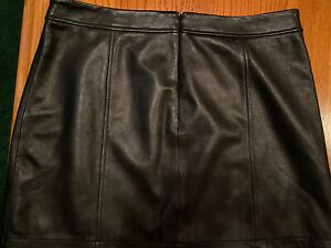 Gianni Bini Women Black Leather Skirt L EUC