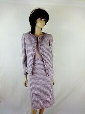 CARMEN MELARD TWEED COMBO SLEEVELESS DRESS WITH  JACKET DRESS  SUIT SIZE 46/L