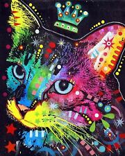 Thinking Cat Crowned Dean Russo Animal Contemporary Cat Print Poster 8x10