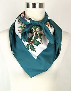 New Gucci Large Silk Scarf Floral scarf with Green Trim 022796 4409