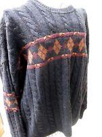 Vtg Sweater Shop Jumper Knit Mens Pullover Large Alpaca Wool Blend 1990s Retro