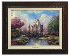 Thomas Kinkade New Day at Cinderella's Castle Canvas Classic (Espresso Frame)