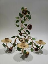 Vtg Toleware Painted Metal Flower Sconce Wall Candle Holder Italy Garden Art