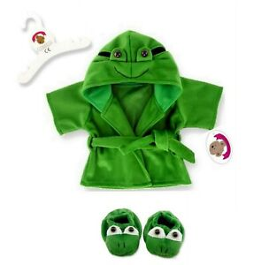 Teddy Bear Clothes fits Build a Bear Teddies Frog Dressing Gown Slippers 3D face